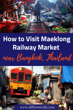 The amazing Maeklong Railway Market is a day trip from Bangkok. It's famous as the market has a railway running through it - and seeing the stallholders work round the train is an amazing sight. Here's how to get there for just 25 baht on the train itself. #maeklongrailwaymarket #maeklongtrainmarket #daytripsfrombangkok