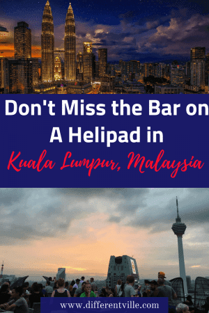 If you're looking for a fantastic bar in Kuala Lumpur, check out Heli Lounge. It's 34 floors up on top of a working helipad. #helipadbar #kualalumpur #barsinkualalumpur