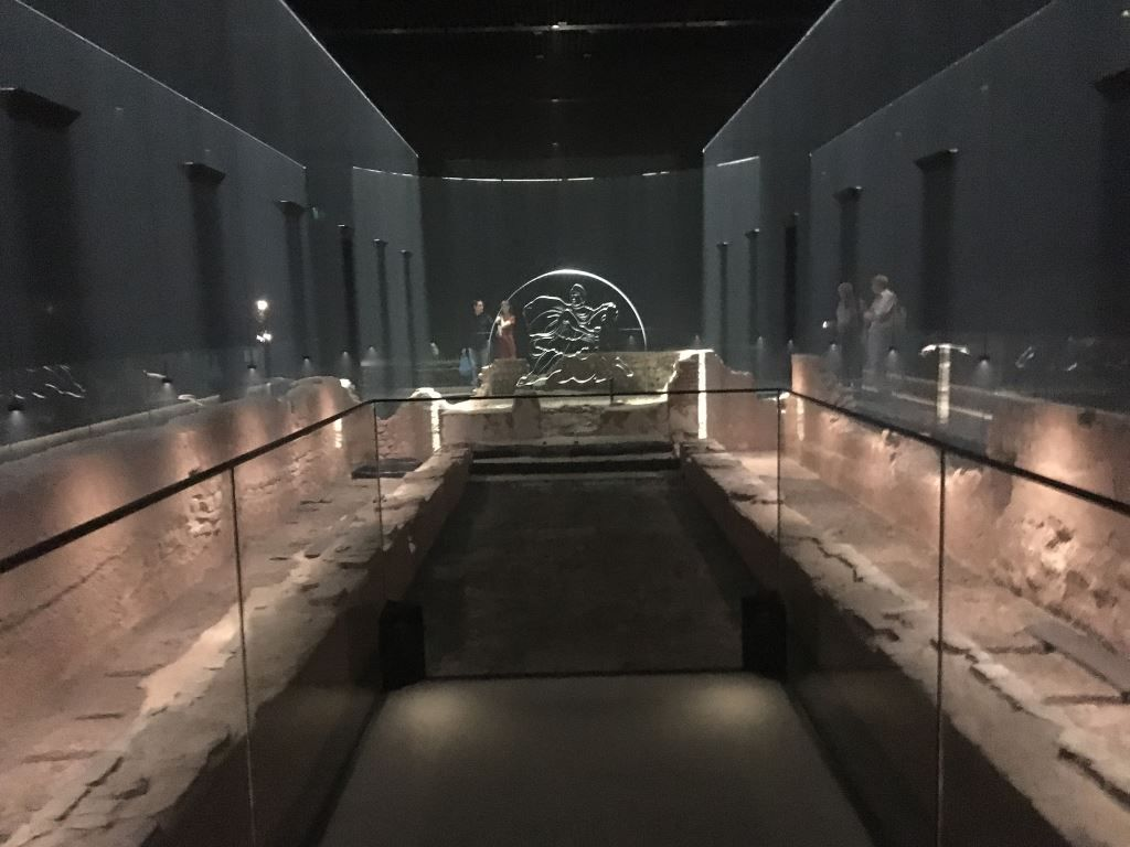 View of the ruins of the London Mithraeum in the City of London