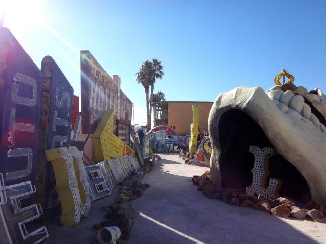 The old treasure Island Skull at the Neon Museum can even be seen from space
