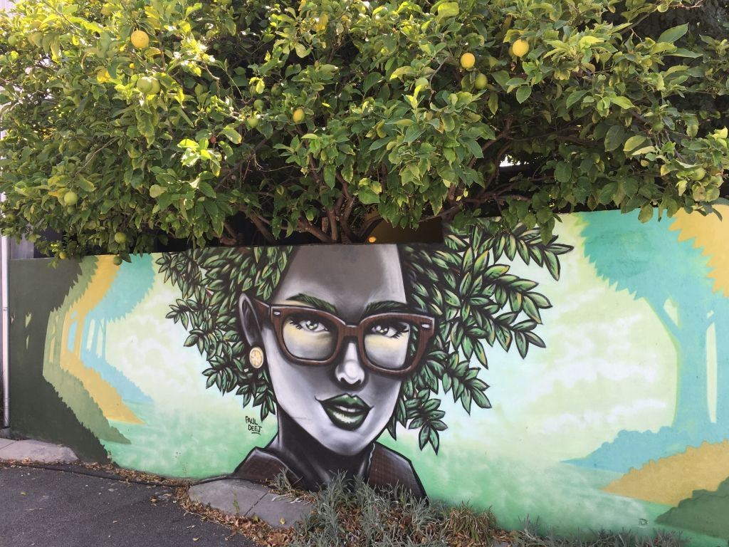 mural of a girl with afro hair - the tree behind forms part of the painting and her hair
