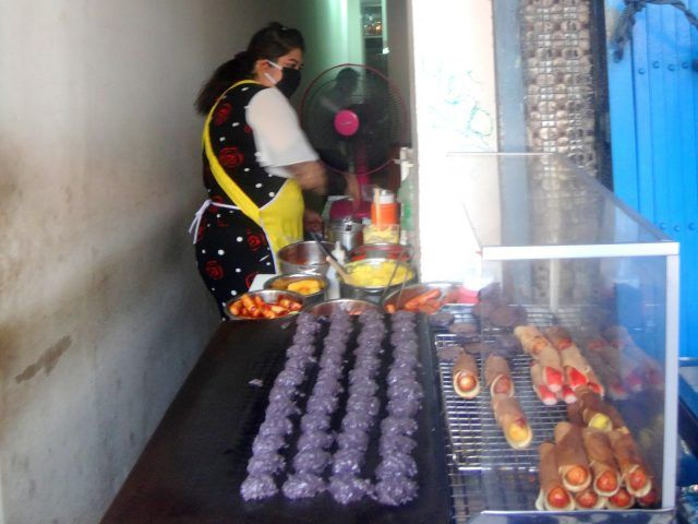 The biggest surprise on the Bangrak food tour I took in Bangkok was how good these purple cookies were.