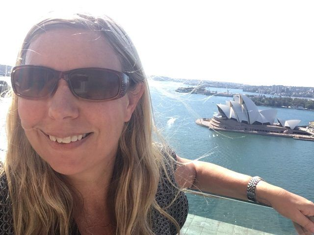 Spot the slightly terrified grin of someone scared of heights on top oif the Pylon Lookout, Sydney Harbour Bridge