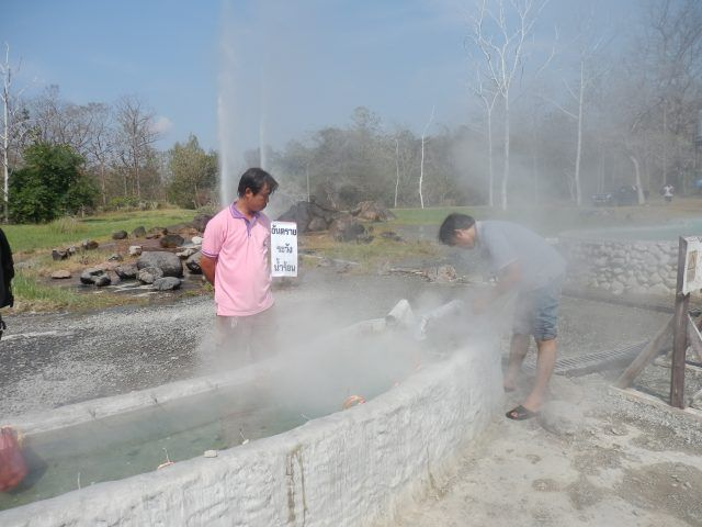 Waiting for your eggs to boil is part of the fun at San Kamphaeng Hot Springs Chiang Mai