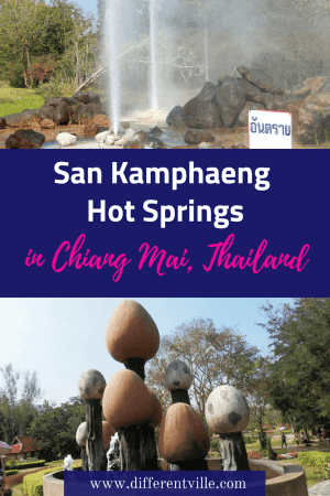 Visiting Chiang Mai? San Kamphaeng Hot Springs is a short scooter ride away from Chiang Mai town - and it has a quirky egg theme! We loved it. Click now to find out why or save it to your Thailand or Chiang Mai board for later. #quirkytravel #daytripsfromchiangmai #chiangmai #sankamphaeng