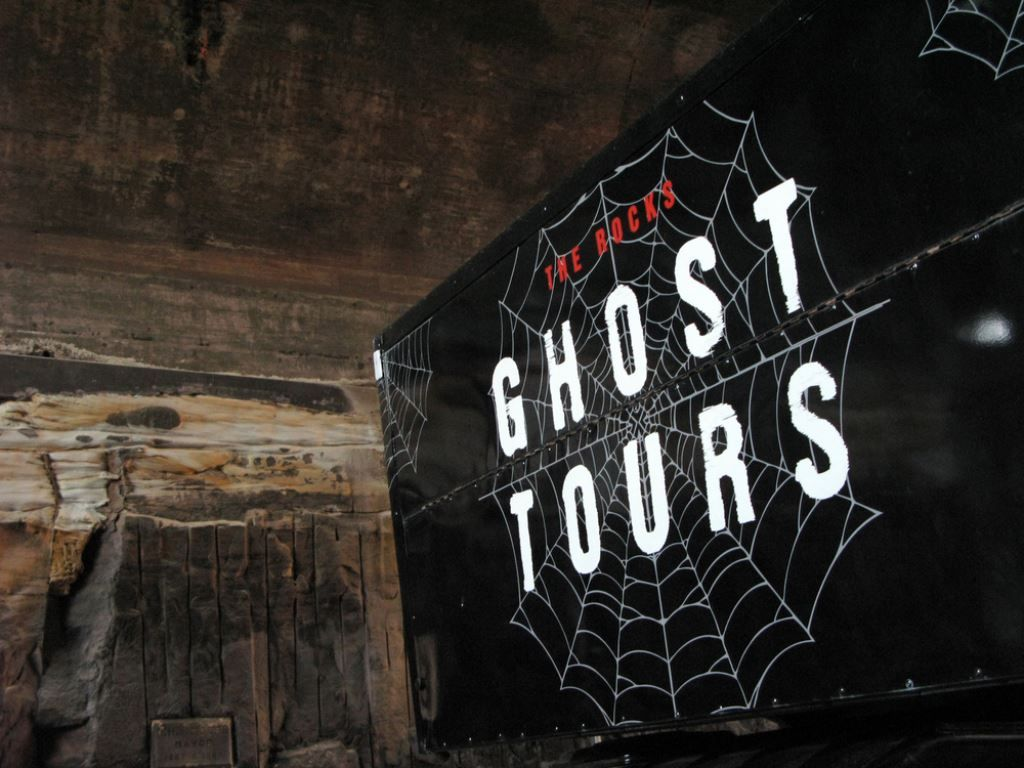 Sign advertising Ghost Tours in the Rocks Sydney