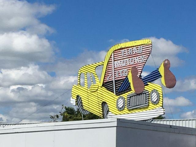 Corrugated iron sign in Tirau New Zealand