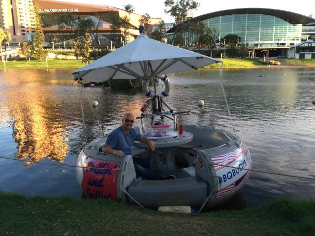 BBQ Bouys are little round boats with BBQs or picnic tables build in that you can sail down the River Torrens in Adelaide