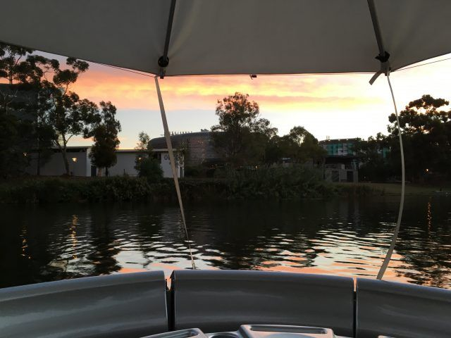 View from our BBQ Buoys boat at sunset