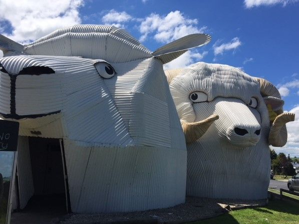 These are shops in Tirau New Zealand. I love the way the ram looks at the sheep.