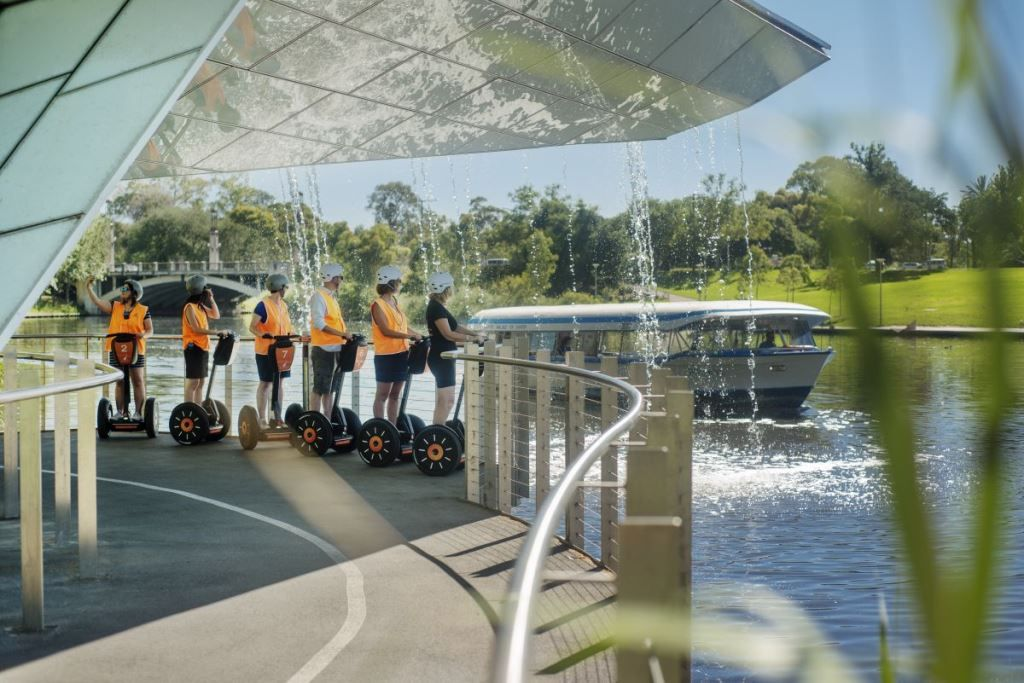 Group of people on a Segway by the River Torrens in Adelaide - one of the fun things to do in Adelaide