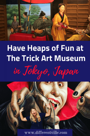 The Tokyo Trick Art Museum in Odaiba is world of fun. Perfect for a rainy day in Tokyo, you get to appear in a heap of cool paintings. Here's where to find it (and some other cool ideas of things to do in Odiaba). If you're planning a trip to Tokyo, click to check out the post or save it to your Tokyo board for a rainy day! #tokyo #tokyotrickartmuseum #thingstodointokyo #odiaba