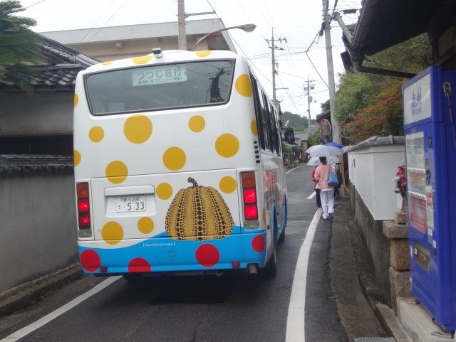 Even the bus has pumpkins on Naoshima Art Island