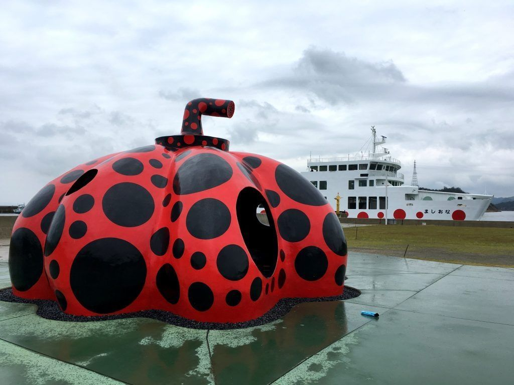 red spotted pumpkin and ferry with spots Naoshima Island
