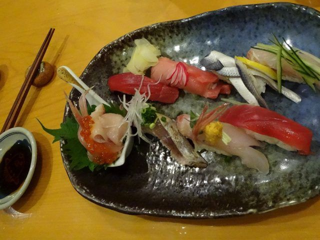 A plate of sushi from Nadeshico Sushi Akihabara Tokyo. The restaurant is famous because it has a female sushi chef