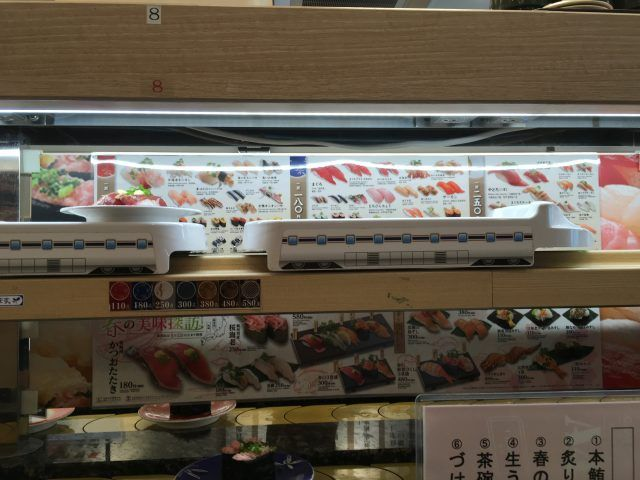The Sushi Go Round in Shibuya Tokyo actually delivers your sushi on an actual train