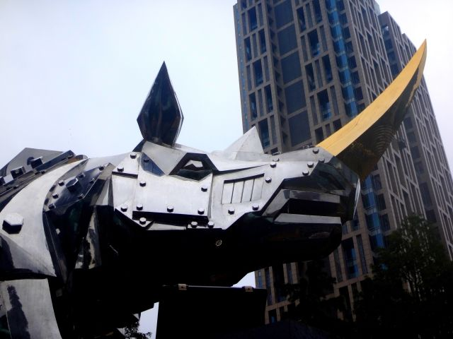 Amazing sculpture of a metal rhino with silver 'skin' and a gold horn is just a short walk from Taipei 101