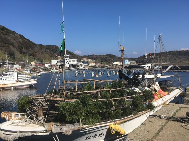 Fishing boat in Ainoshima Island, off the coast of Fukuoka, Japan. It's best known for the many cats that live there making it one of the Cat Islands in Japan