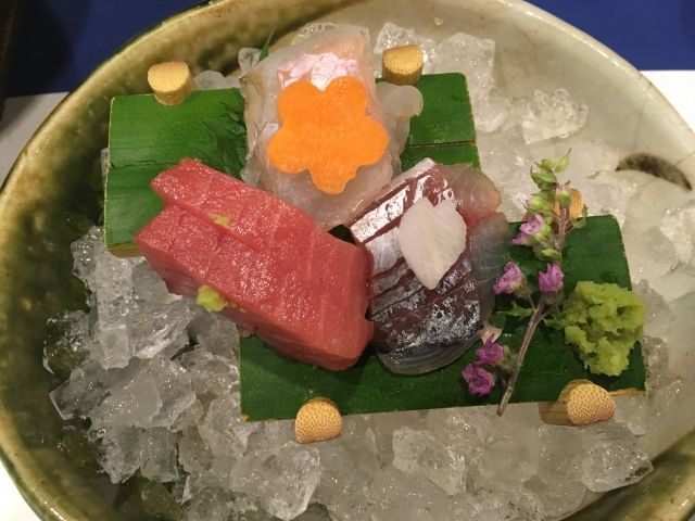 Sahimi of tuna and other fish served on ice from Minami in Matsue Japan