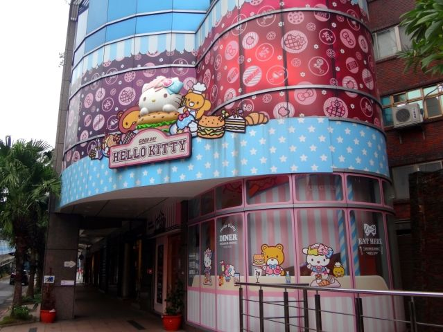 Exterior of the Hello Kitty Cafe in Taipei. It has a bright front with a big white Hello Kitty figure stuck to it.
