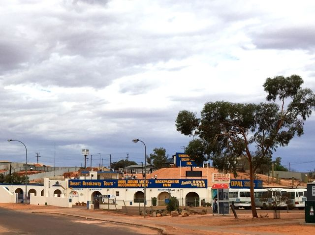 Exterior view of one the underground hotels in Coober Pedy. It's dug into the clifftop.