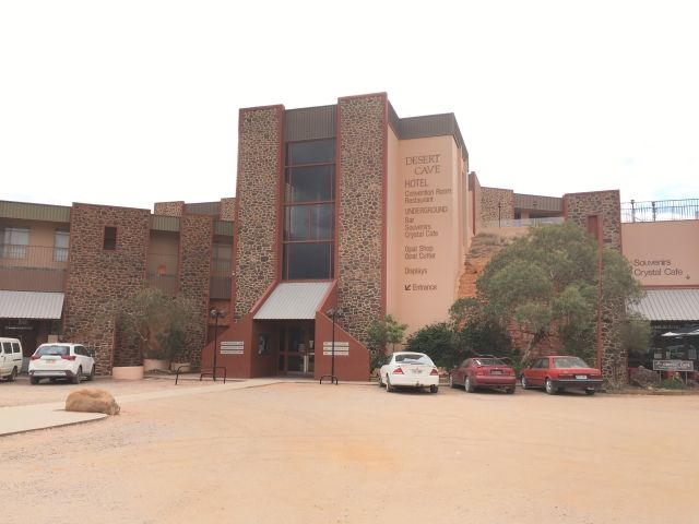 Exterior of the Desert Cave Hotel Coober Pedy.