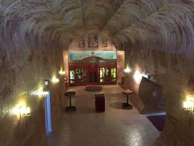 Underground church in Coober Pedy. The ceiling is scalloped from the digging machines.