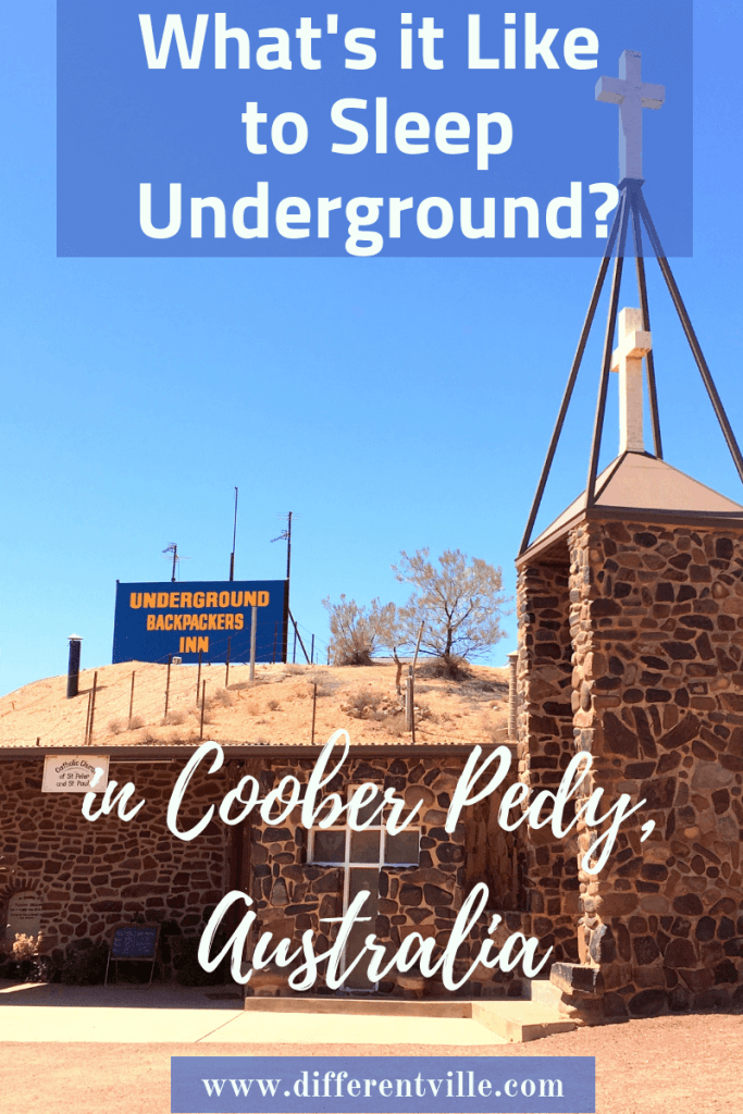 Underground church in Coober Pedy with one of Coober Pedy's underground hotel behind it
