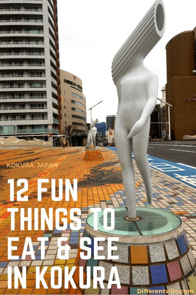 Statue of a man with a tube of penne pasta instead of a head - one of the fun things to see in Kokura Japan
