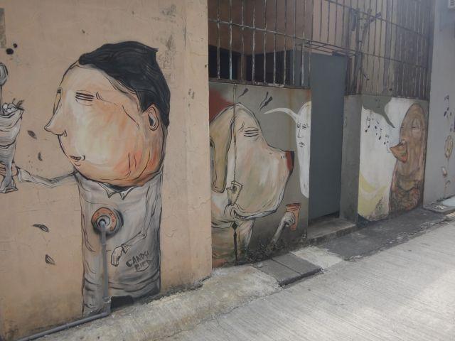 Street art mural of cartoony man