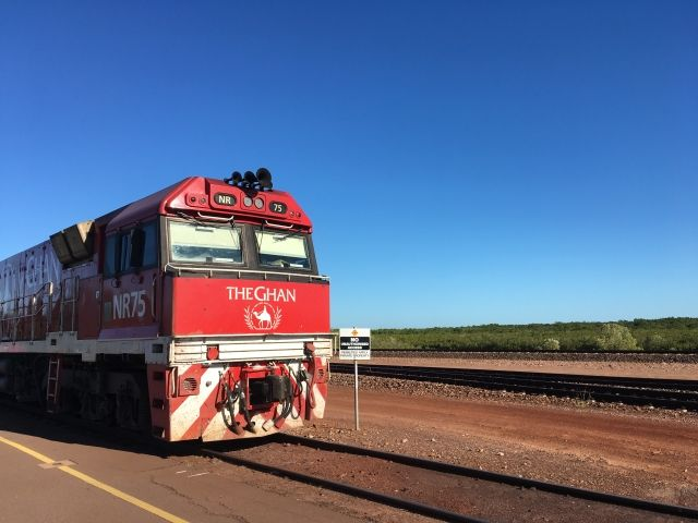 The Ghan train bright red lead engine