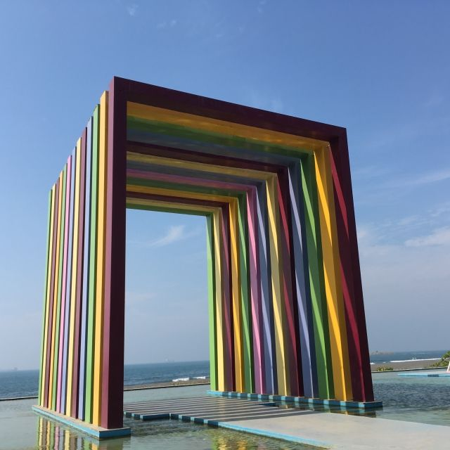 Cube sculpture with rainbow colours in Kaohsiung, Taiwan