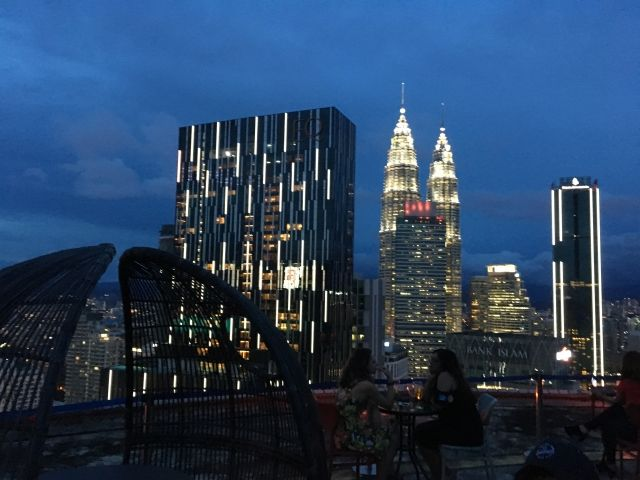 View of the Petronas Towers from the Helilounge bar