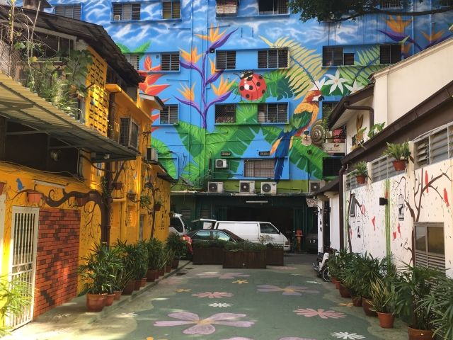 Murals on houses and apartments in Kuala Lumpur
