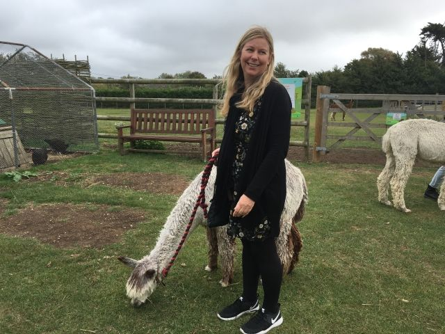 girl standing next to alpaca