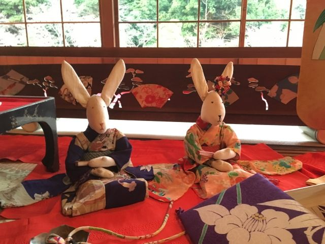 Rabbit dolls in kimono for Hinamatsuri, the dolls festival in Japan