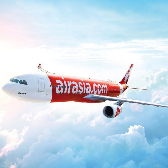 Air Asia plane in the sky