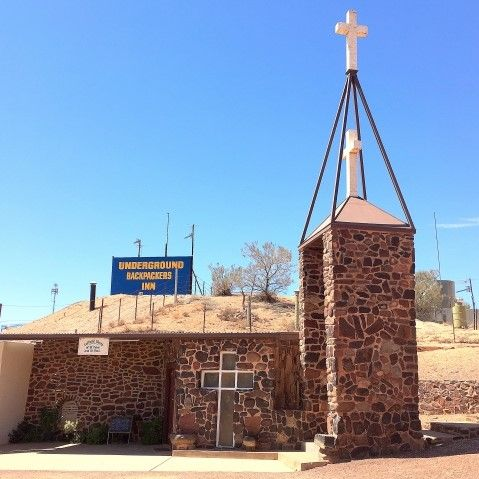 Outside of one of Coober Pedy's underground hotels