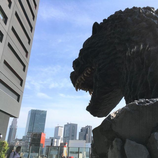 View of Godzilla head over Tokyo in Shinjuku