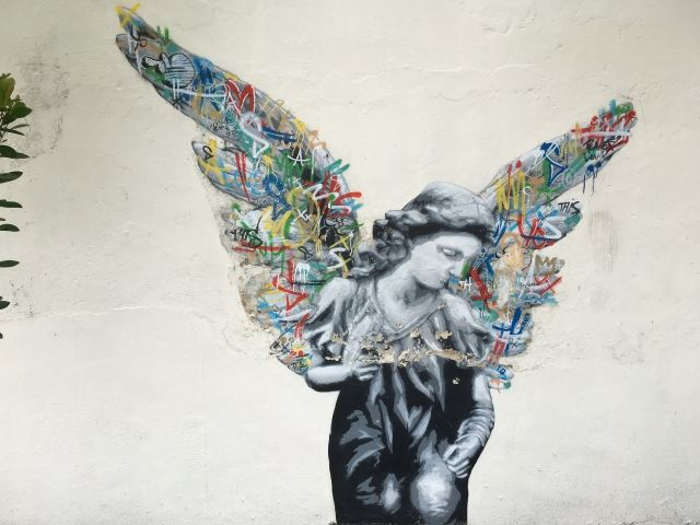 Mural of an angel in Penang, Malaysia