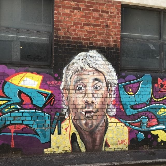 Street art mural of Steve Irwin in Adelaide