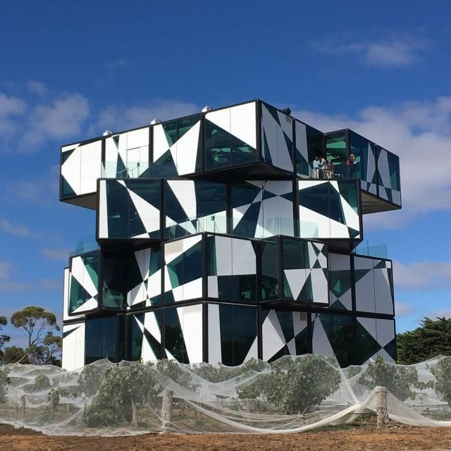 Amazing black and white cube shaped building. The D'Arenberg Cube, McClaren Vale