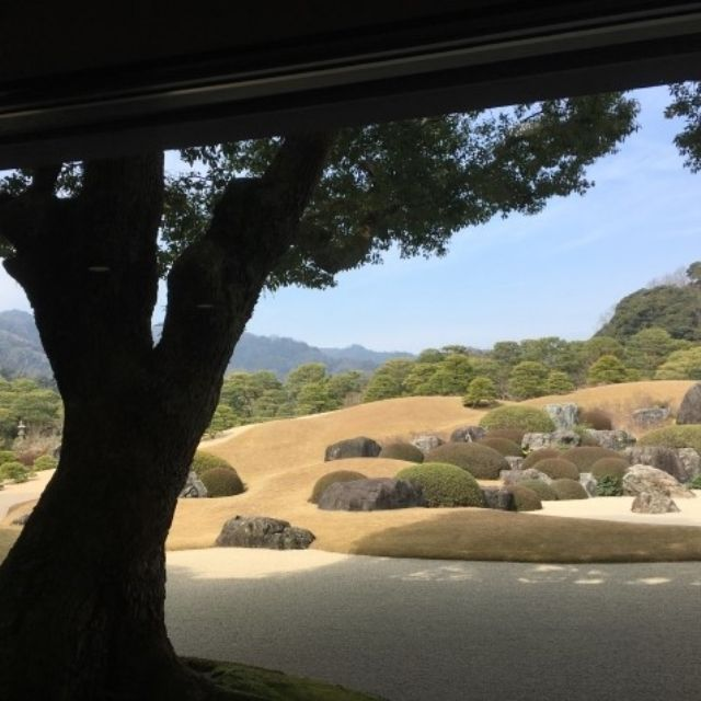 View of the Adachi Museum of Art garden through their frame like windows