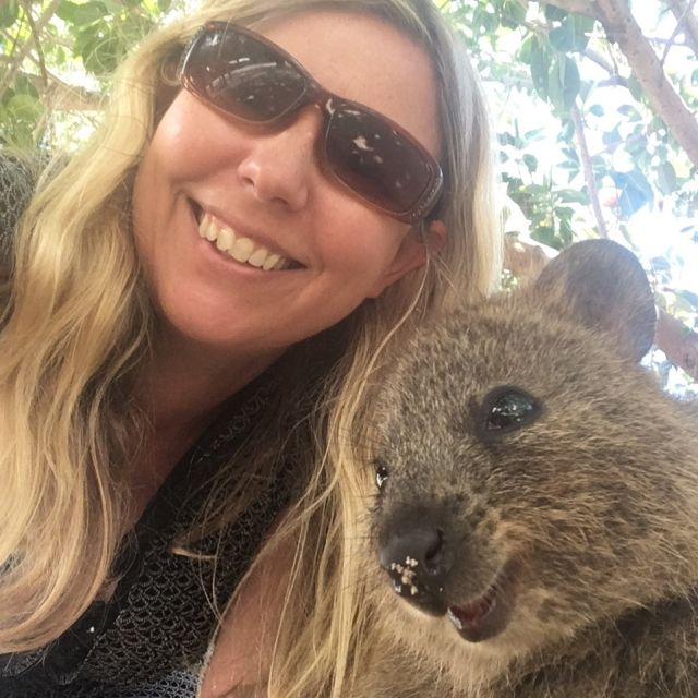 Selfie with a smiling quokka on Rottnest Island, near Perth