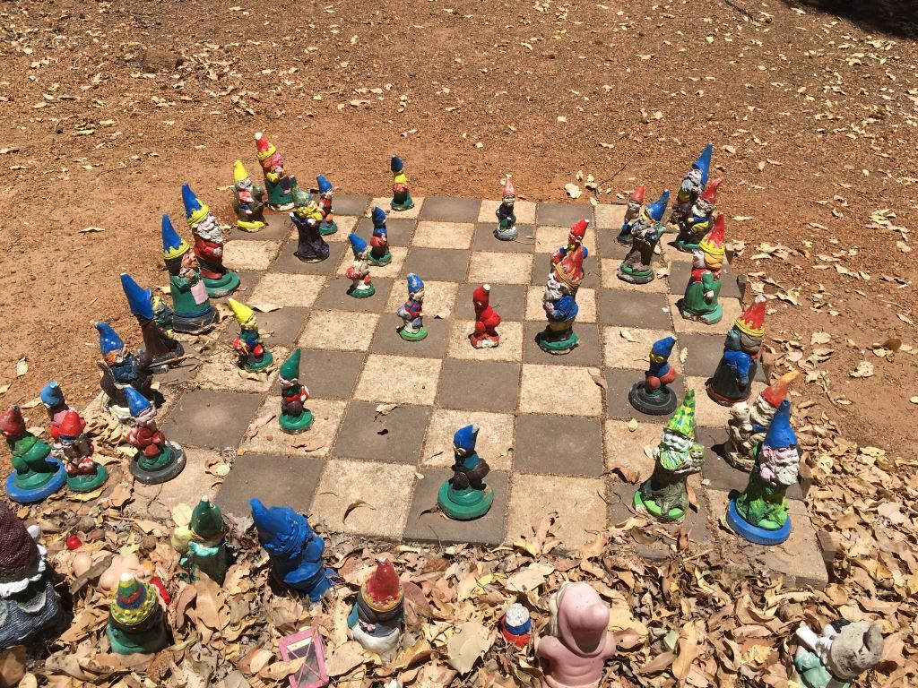 Gnomes on a chessboard in Gnomesville, Perth
