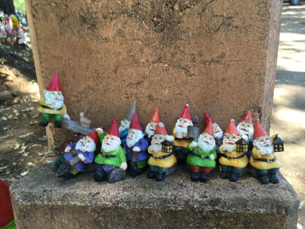 A set of gnomes with lanterns at Gnomesville, Western Australia