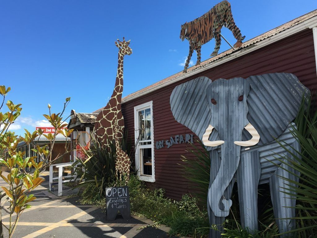 Elephant, giraffe and tiger made of iron in Tirau, New Zealand