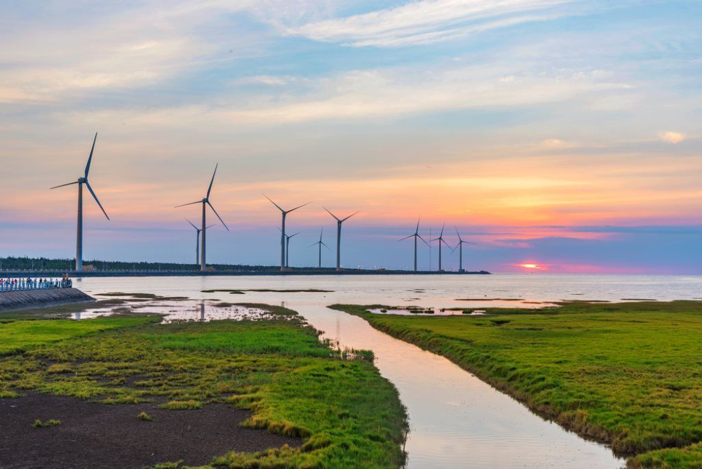 View of thr wind farm at sunset, Gaomei Wetlands, Taipei