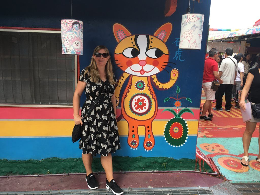 House painted with a cat, Rainbow Village, Taiwan