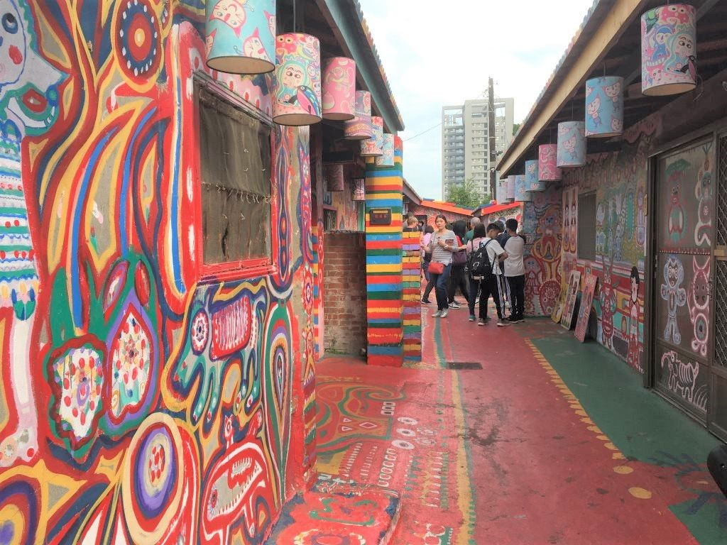 Alley in Rainbow Village, Taiwan - crowds in the distance